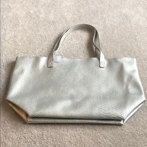 Large silver tote NWT